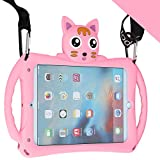 iPad Mini Case for Kids [with Adjustable Shoulder Strap] Etoden Shockproof Silicone Handle Stand Case Cover for iPad Mini / Mini 2 / Mini 3/Mini 4/Mini 5 (Pink)