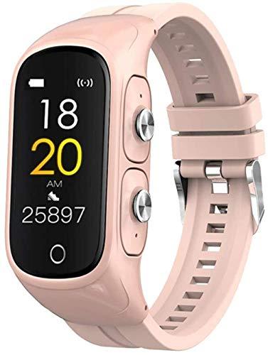Pulsera de fitness 2 en 1 con auriculares inalámbricos Bluetooth rastreador de actividad reloj inteligente reloj deportivo podómetro con monitores de ritmo cardíaco cronómetro pulsera inteligente 2