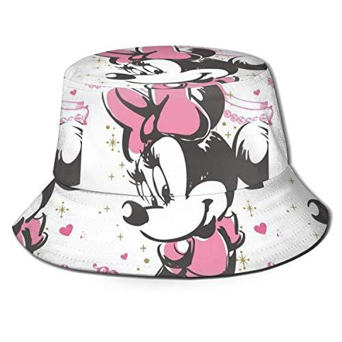 JaOUIY Schöne Minnie Mouse Bucket Sonnenhut für Männer Frauen -Protection Packable Summer Fisherman Cap für Angeln, Safari, Beach Boating Black