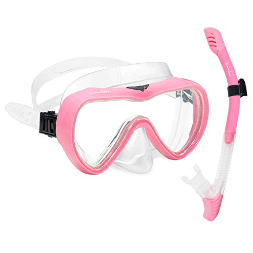 OMGear Snorkel Set Snorkeling Gear Package Diving Set Premium Silicone Dive Goggles with Nose Cover Snorkel Tube Neoprene Mask Strap Scuba Diving Freediving Spearfishing Swimming (Pink)