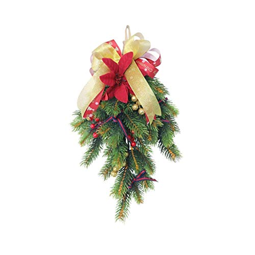 JIAL Upside Down Weihnachtsbaum dekorative Kiefer Nadelbaum Weihnachten handgemachte Türhänger für Haustür Wandfenster Home Decor Chongxiang
