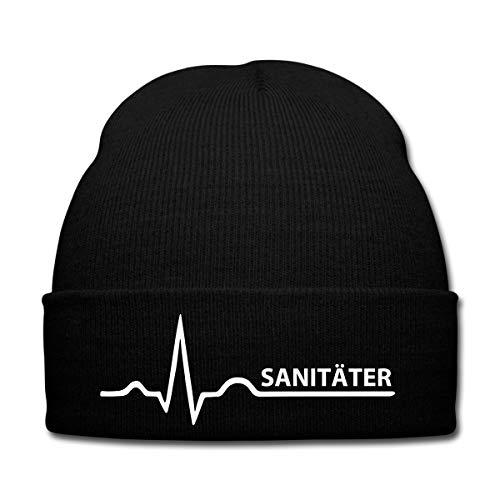 Spreadshirt Sanitäter Herzschlag Rettungsdienst EKG Wintermütze, Schwarz