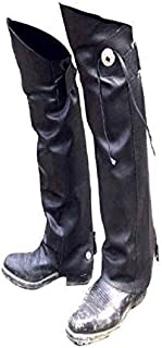 Leather MOTORCYCLE Half CHAPS Short Gaiter Leg Warmers Leggins NEW Gauchos YKK - WITH Concho & Fringe XLarge-2XL Black