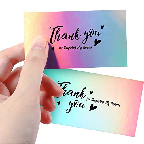 100 Pieces Thank You for Supporting My Small Business Cards, Holographic Silver Thank You Cards for Small Business Owners E-Commerce Retail Store Handmade Goods Customer Package Inserts, 3.5 x 2 Inch