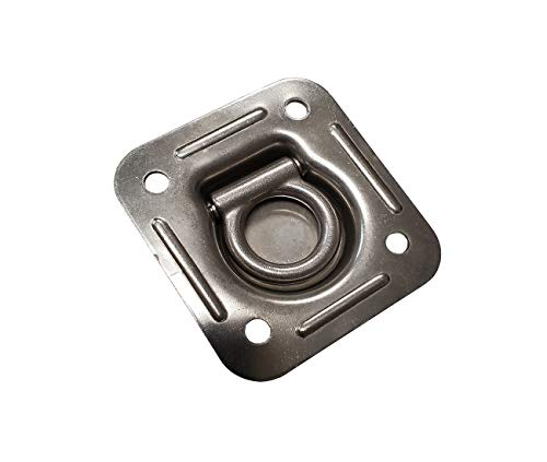 Mega Cargo Control 8-Pack Stainless Steel Recessed Pan Heavy Duty Square Tie-Down D Ring with 4 Round Bolting Holes for Flatbed Truck, Enclosed Trailer, & Motorcycle/Sport Equipment -  Tie 4 Safe, RH01SS-8