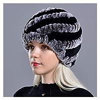 女性のための冬の暖かい帽子ロシアの本物の毛皮のニットキャップ冬の暖かいビーニーの帽子 (色 : Blackcoffee, サイズ : 56to59cm)