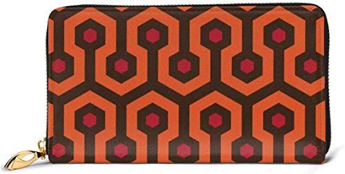 Cartera de cuero para mujer Overlook hotel alfombra carteras RFID bloqueo cremallera...