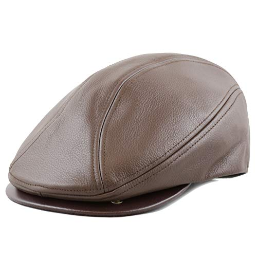 The Hat Depot Genuine Made in USA Leather Gatsby Ivy Ascot Hat (M/L, Brown)