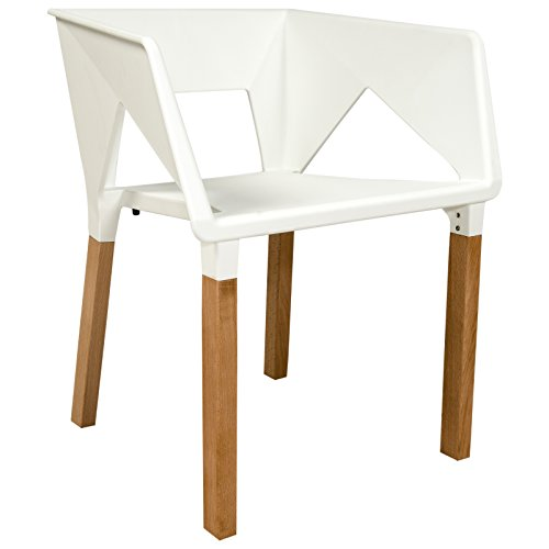 LeisureMod Elkton Modern Accent Chair with Wooden Frame, 19.5-Inch by 19.5-Inch by 27-Inch, White