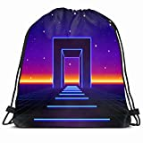KAKALINQ Drawstring Backpack String Bag Neon 80 Styled Massive Vintage Gate Retro Science Technology Disco Party Techno Entrance Sci Door Futuristic Sport Gym Sackpack Hiking Yoga Travel Beach