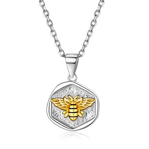 ChicSilver Biene Halskette aus 925 Sterling Silber 18K Gold plattiert Disc Münze Anhänger mit Rolokette…