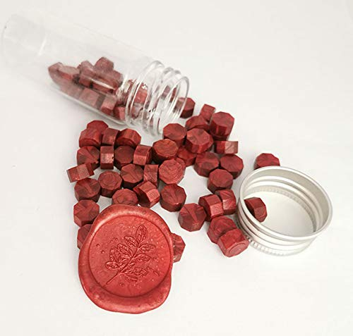 Gpeal 80 Pieces Metallic Burgundy Wine Red Sealing Wax Beads Wax Seal Stamp Melts Beautiful Color Wax Beads Wedding Invitations Christmas Gift Cards Party Envelopes Christmas Gift Packages Sealing Kit