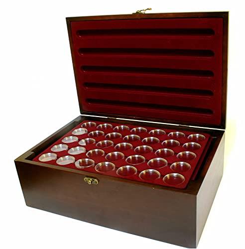 MC.Sammler Holz Münzkassette Münzkoffer inkl 10 Münztableaus für 350 STK 10 Euro Münzen in Kapseln ( Kassette mit 350 Münzkapseln 32,5mm)