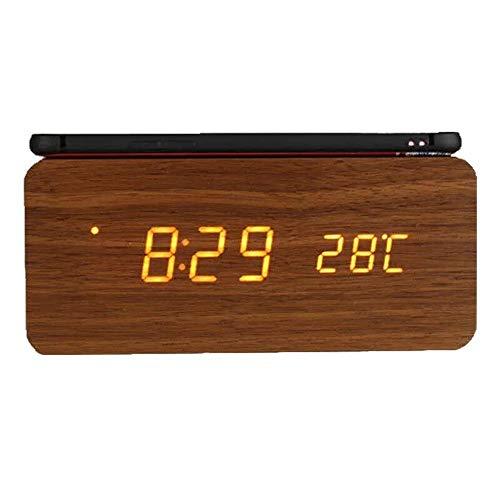 JenLn Inicio Reloj Despertador Digital Madera Madera LED de Alarma Reloj termómetro Digital Moderna Qi Cargador inalámbrico Operación Simple (Color : Brown, Size : One Size)
