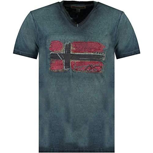 Geographical Norway JOASIS Men - Herren T-Shirt Aus Baumwolle Casual - T-Shirts Gedruckt Logo Grafik - Design T-Shirts - Kurze Ärmel - V-Ausschnitt Regular Fit Men\'s
