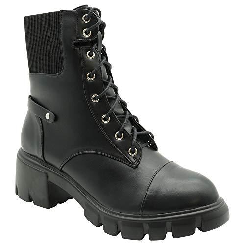 Woman's Black Combat Boots (black, 6)