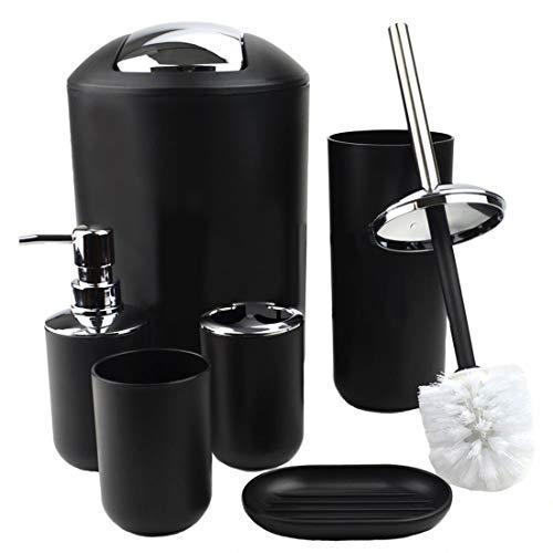 GMMH 6tlg BADSET Badezimmer ZUBEHÖR Set SEIFENSPENDER Halter WC BÜRSTE BADGARNITUR (schwarz Design 2)