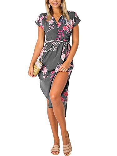 YOINS Sommerkleid Damen Lang V-Ausschnitt Maxikleider für Damen Kleider Strandkleid Strandmode Blumen-grau S