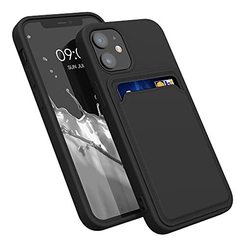 kwmobile Funda con Tarjetero Compatible con Apple iPhone 12 Mini - Carcasa Protectora de TPU Suave - Negro