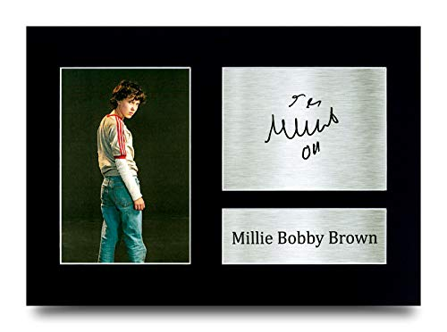 HWC Trading - Imagen de Millie Bobby Brown, Eleven en Stranger Things, con autógrafo, regalo para...