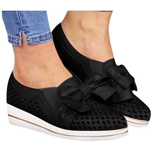 Buy Bargain Padaleks Women's Comfortable Walking Shoes Wedges Flat Bottom Bowknot Wild Leisure Breat...