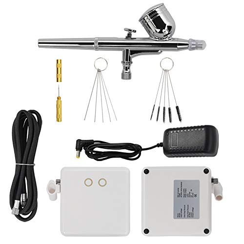 DKIEI Air Brush Set with Compressor for Easter Egg Decorating Kit, Auto Dual-Action High Pressure Airbrush Pen Mini Air Compressor Brush and Airbrush Cleaning Kit for Tattoo Art Nails Paint