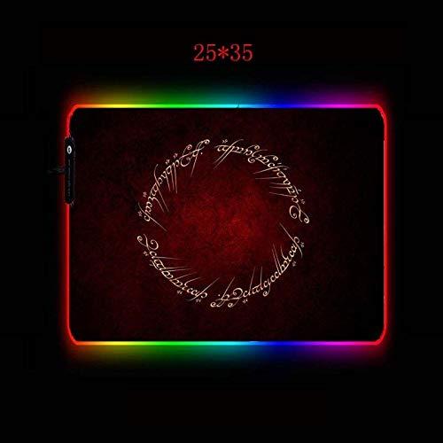 Le Seigneur des Anneaux Grand RVB de jeu tapis de souris Gamer Clavier LED Tapis de souris USB filaire lumière non-Slip Souris Souris 7 couleurs Dazzle (Color : 25X35CM, Size : Thickness 3MM)