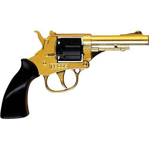 Pistola giocattolo in metallo, 8 colpi Modello pecos, oro A tamburo Utilizza munizioni 8 colpi - 125 dB Munizioni non incluse Prodotto in italia Lunghezza: 17 cm