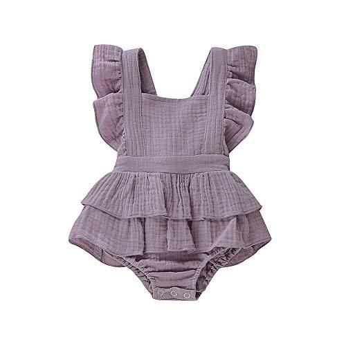 Newborn Baby Girls Romper Ruffle Jumpsuit Bodysuit One-Piece Cotton Linen Outfits Clothes (Purple, 0-3 Months)