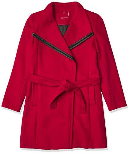 Calvin Klein Womens Belted wrap Wool Coat, CRI, 10