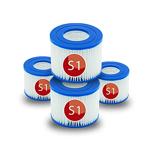 Denkmsd S1 Filtros de repuesto para Intex 29001WL/29001E, cartuchos para filtro de Whirlpool, filtro S1 tipo S1 PureSpa Easy Set Filtro de repuesto para piscina, spa, jacuzzi, bañera (4 unidad