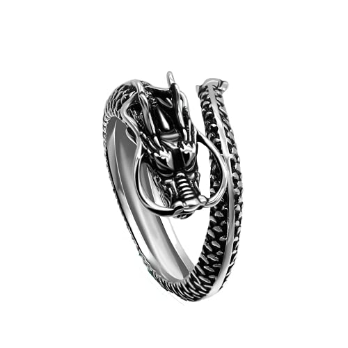 LOOPIG Anel vintage estilo chinês, anel de dragão, ajuste livre, anel feminino