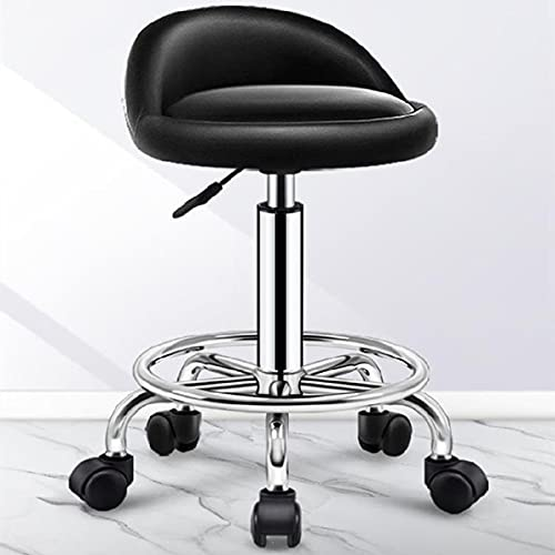 MTYQE Rolling Stool with Wheels,Backrest,Adjustable Chair,Apply to Beauty,Tattoo,Massage,Clinic,Office,Art Studio(Black,Height:47~62cm)