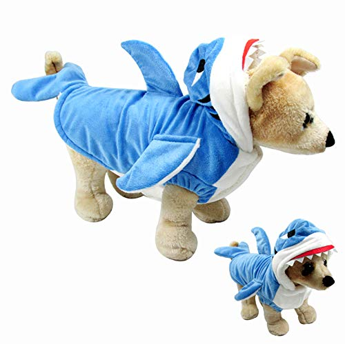 Filhome Funny Dog Cat Shark Costumes Pet Halloween Christmas Cosplay Costume Puppy Winter Coat Hoodie Sweater Clothes for Small Medium Large Dogs and Cats