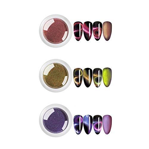3 boîtes Set 9D Cat Eye Nail Art Poudre Nail Art Décoration Nail Art Glitter Chrome Pigment Poussière Magnétique Miroir Couleur Manucure Outil 0.2g
