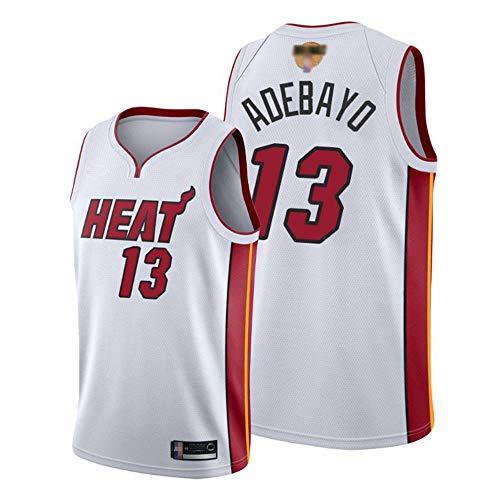 Bordado por Hombres NBA Miami Heat # 13 Edris-Adebayo Jersey, Deporte Fitness Moisture Wicking Transpirable, Chaleco De Secado Rápido,Blanco,M(170~175cm)