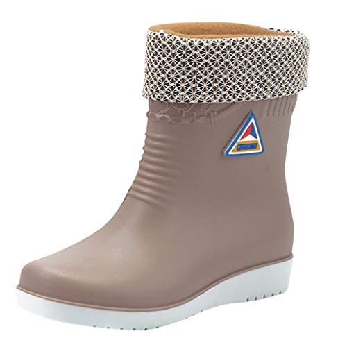 kekison Gummistiefel Damen Gefüttert und Wasserdicht Winterstiefel Winter Warme Hohe Stiefel Antirutsch Winterboots Schneeschuhe Outdoor Boots