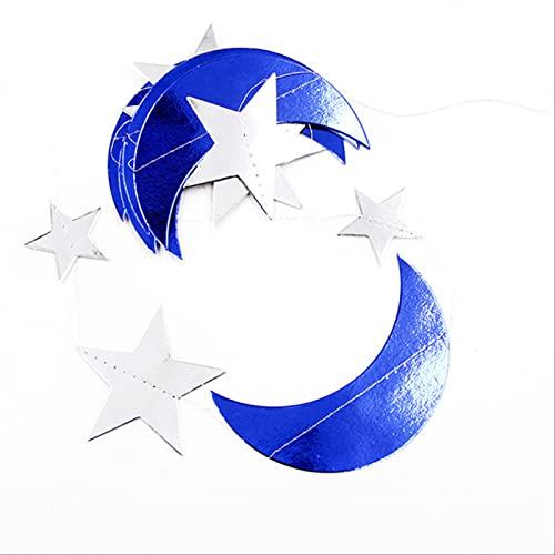 NKNVO Eid Mubarak Banner Brillo Eid Estrella Luna Carta Papel Banderines Guirnalda Islámica Musulmana Mubarak Ramadán Decoración Fiesta Suministros