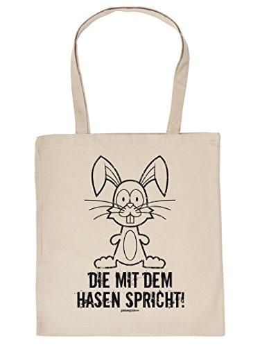 Geschenk Ostern Tragetasche Verpackung fürs Osternest - lustiges Motiv OSTERHASE CARTOON in beige : )