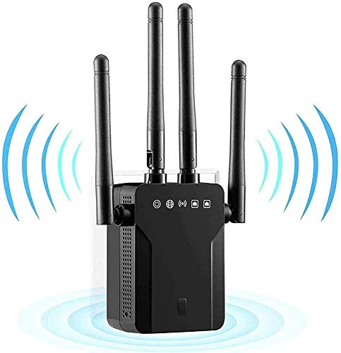 Ripetitore WiFi Wireless 1200Mbps Dual Band 5GHz& 2.4GHz Extender Segnale WiFi Access Point Ethernet/LAN/WPS, Modalità AP/Ripetitore/Router/Cliente,Ethernet Porta, 4 Antenne ,copertina Area 200㎡