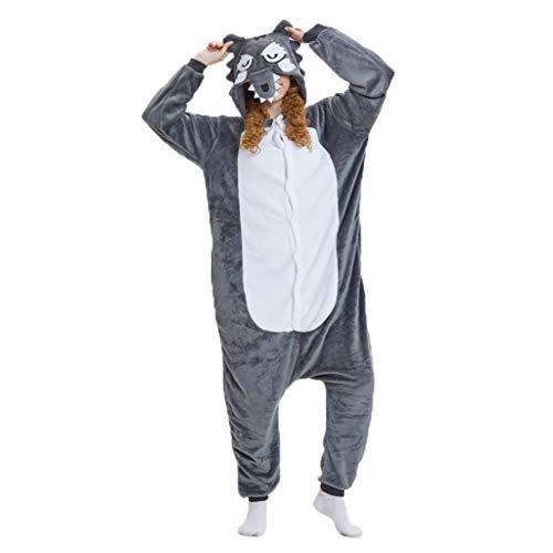 JXILY Pijama de Animales Disfraz de Pijama de una Pieza de Animal de Dibujos Animados de Lobo Feroz Cosplay o Pijama, Adecuado para Exteriores,M