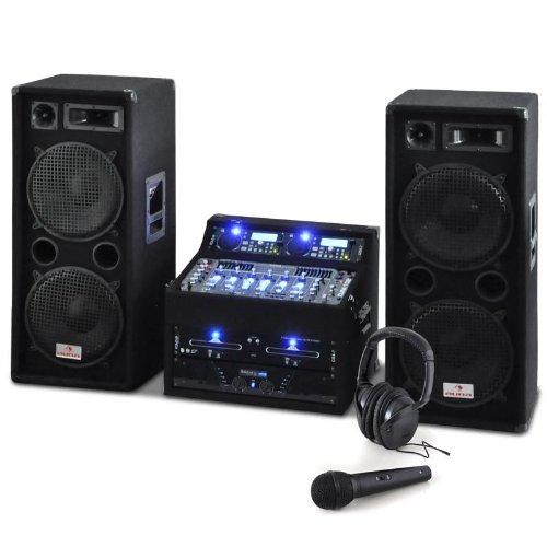 DJ PA Set Rack Star Terra Titan 2000W DJ PA Karaoke Anlage PA-Kompelttset für bis zu 400 Personen(2-Deck-MP3-CD-Player, USB, 2x 500W RMS PA-Lautsprecherbox, mit Kofthörer, Kabel und Mikrofon) schwarz