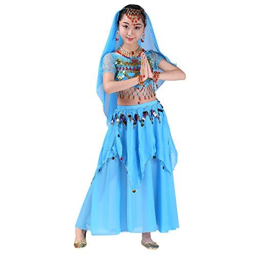 YWLINK Falda De Baile,NiñOs India Danza del Vientre Danza Egipcia Traje De Rendimiento Manga Corta Falda Larga Conjunto De 2 Piezas Bien Parecido Vestido De Fiesta Rendimiento(Azul,4-9 años/S)