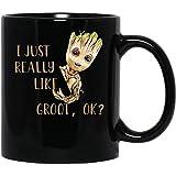 N\A Baby #Groot Cute Mi Piace Davvero #Groot Ok Movie Film Tazza da caffè Divertente per Donne e Uomini Tazze da tè
