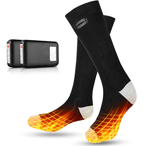 eventek Heated Socks for Winter Sport, 4000 mAh Battery Powered Electric Socks, Winter Electric Rechargeable 3 Heating Settings Thermal Sock, Up to 10 Hours of Heat