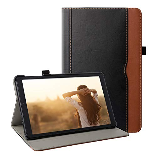 ZoneFoker Samsung Galaxy Tab A 10.1 inch 2019 Tablet Leather Case, Multi-Angle Viewing Folio Stand Cover with Pencil Holder For Galaxy Tab A 10.1 SM-T510/SM-T515 (#1 Black/Brown)
