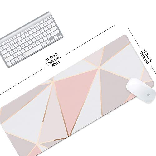 """ZYCCW Large Gaming XXL Mouse Pad with Stitched Edge 31.5""""x11.8""""x0.15"""" Pink Gold Marble Mouse Mat Customized Extended Gaming Mouse Pad Anti-Slip Rubber Base Ergonomic Mouse Pad for Computer Photo #4"""