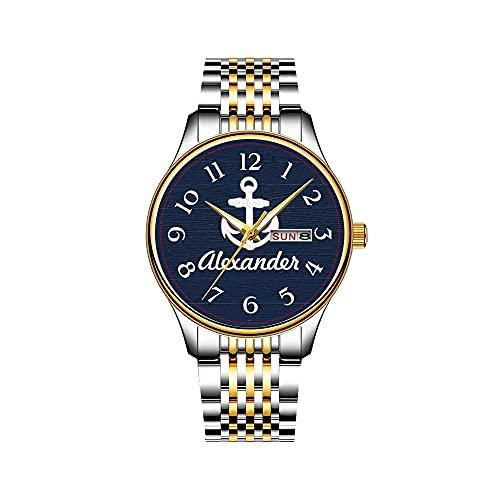 Relojes para hombre, mecanismo de cuarzo japonés, fecha, acero inoxidable, dorado, reloj náutico