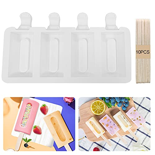 4 Cavity Grooves Silicone Ice Cream Mould Coated Pop Ice Lolly Mold Maker Chocolate Frozen Dessert Popsicle Moulds Tray + 10pcs Wooden Sticks for Handmade Craft DIY