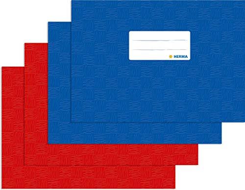 Herma Heftumschlag DIN A5 quer, Kunststoff, 2 blau + 2 rot, gedeckt mit Baststruktur, 4 Heftschoner für Schulhefte